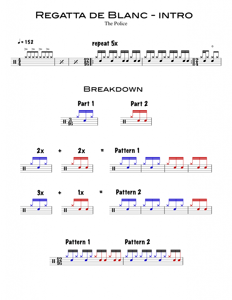 Sheet Music for Regatta de Blanc Intro Drum Part