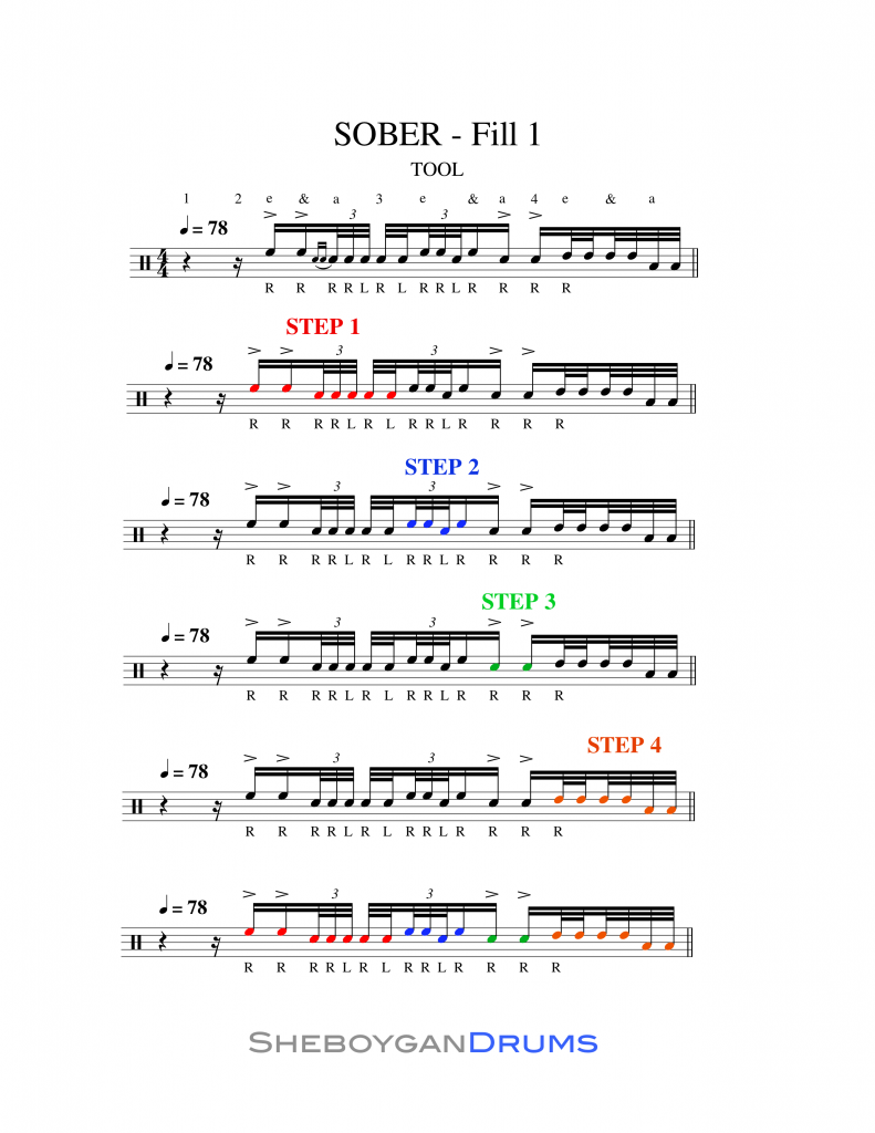 Sheet Music for TOOL Sober Opening Drum Fill