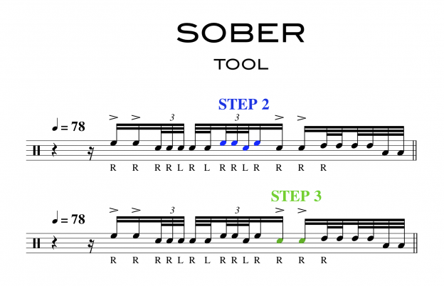 Excerpt of Sheet Music for TOOL Sober Drum Fill 1